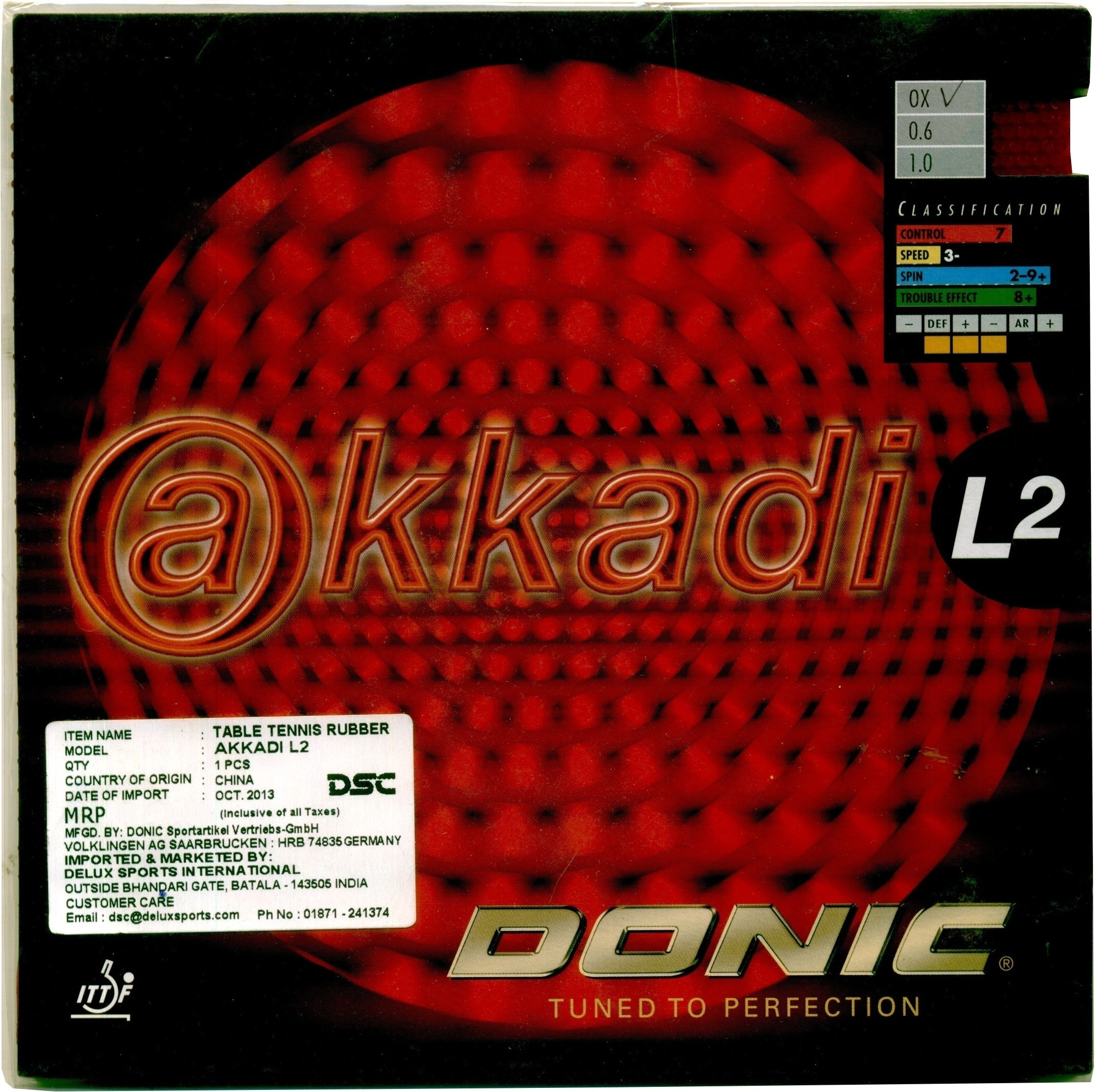 Donic Akkadi L2 (OX) Table Tennis Rubber.