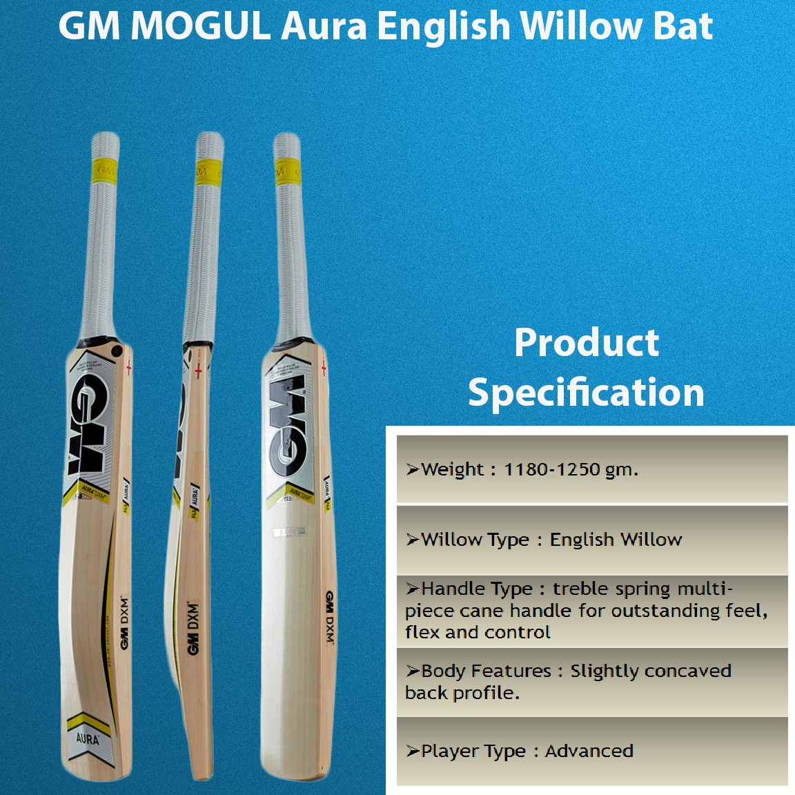 GM Mogul Aura English Willow Cricket Bat