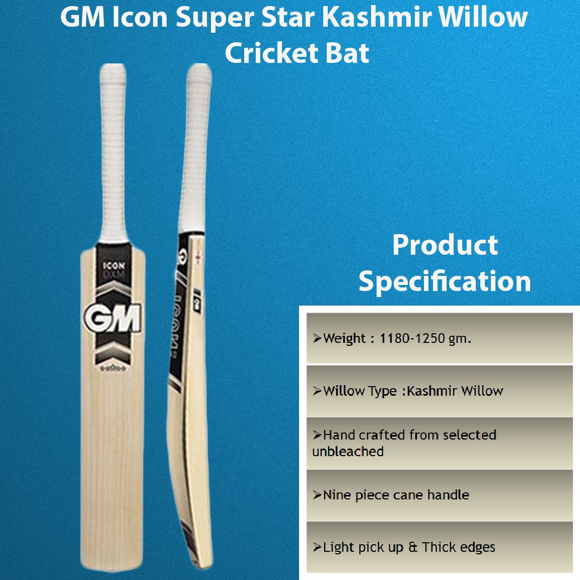 GM Icon Super Star Kashmir Willow Cricket Bat